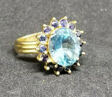 Antique Topaz Sapphire Flower Ring 7gr 10k Solid Yellow Gold Jewelry sz 7,25