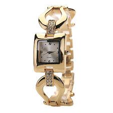 Damenuhr Damen Glieder-Armbanduhr Quarz Analog Edelstahl gold eckig Strass 19cm