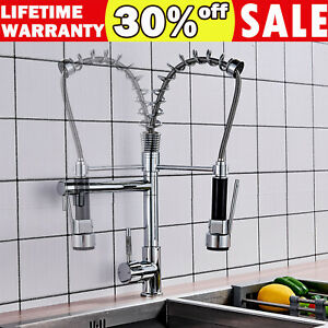 Kitchen Faucets with Pull Down Sprayer Two Head Kitchen Sink Tap Commercial