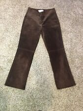 Margaret Godfrey Women's Brown Leather Suede Pants Side Stitching Size 4 x 29