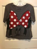 Disney Parks Minnie Mouse Big Red Bow Gray T Shirt - Small