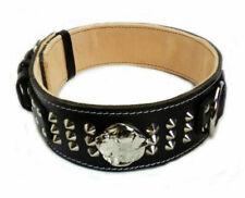 Heavy Duty Black Dog Collar Studded Design with American Bulldog Head Motif