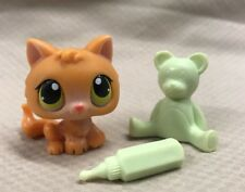 Littlest Pet Shop SMALL ORANGE BABY KITTEN GREEN/YELLOW EYES #86 ACCESSORIES