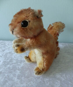 """Vtg Steiff plush large squirrel 1960s mohair no tag or button 8"""" sitting"""