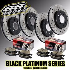 Front+Rear Drilled Slotted Black Platinum Rotors Posi Quiet Brake Pads