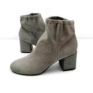Eileen Fisher Hollis Graphite Suede Ankle Booties Block Heel Side Zip Size 6.5