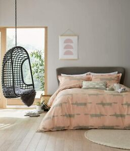 Scion Bedding Mr Fox Blush Pink Duvet Cover Set or Grey Embroidered Cushion
