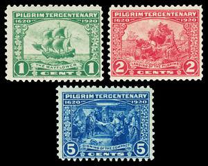 Scott 548,549,550 1920 1c-5c Pilgrim Tercentenary Mint Fine+ OG NH Cat $97.50