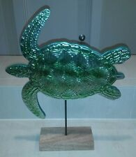 Sea Turtle Shimmering Pressed Metal Bath and Body Works Home Decor Wood Stand