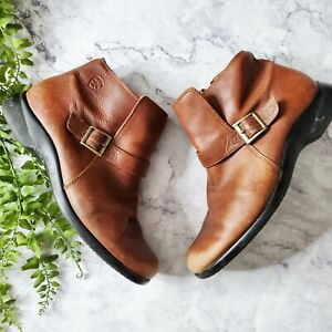 Ariat Women's Cognac Brown Leather Belmont Round Toe Zip Entry Ankle Boots 7