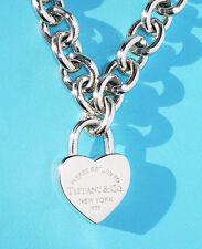 Tiffany & Co Return To Tiffany Argento Sterling Cuore Collana Con Lucchetto 20 in (ca. 50.80 cm)