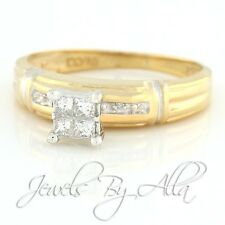 10K (Solid, Unplated) Yellow Gold Womens Princess Diamond Engagement Ring