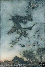 Arthur RACKHAM impresión Bat hada telaraña Halloween Bruja Arco Flecha BRUJERÍA MAGIA