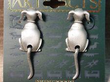 """""""JJ"""" Jonette Jewelry Silver Pewter 'WAGGING DOG TAIL' Earrings"""