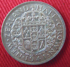 1941 NEW ZEALAND SILVER HALF CROWN HIGH GRADE WITH LUSTER
