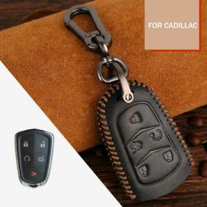 Ruijie Sales Carbon Fiber Fit Cadillac Keychain Car Logo Wristlet Lanyard Detachable for Car Keyring Black
