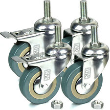 4 x Heavy Duty 75mm Rubber Swivel Castor Wheels Trolley Furniture Caster - Screw