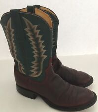 Anderson Bean Boot Company Brown Green Leather Cowboy Boots Size 8 B Made USA