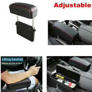 Black&Red Multifunction Retractable Car Center Console Armrest Pad Storage Box