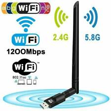 USB WiFi Wireless Adapter 1200Mbps Network Dongle For Laptop Desktop PC Antenna