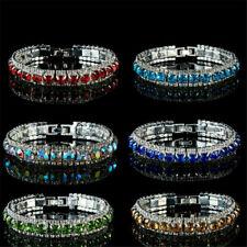 Luxury Women Zircon CZ Crystal Cuff Bracelet Bangle Chain Wedding Jewelry New