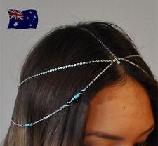 Women Forehead Bohemian Boho Slim Silver color Blue Retro Party Head hair Chain