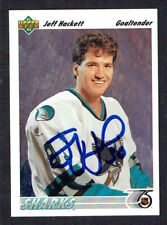 Jeff Hackett #58 signed autograph auto 1991-92 Upper Deck Hockey Card