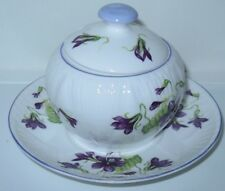 Shelley Violets Condiment Mustard Jar with Lid and Saucer Flat Finial