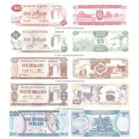 Guyana 1 + 5 + 10 + 20 + 100 Dollars Set of 5 Banknotes 5 PCS  UNC