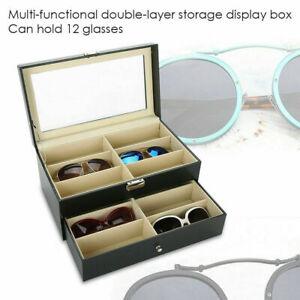 Black Double Layer Eyeglasses Organizer Case 12 Slots Sunglasses Glasses Box