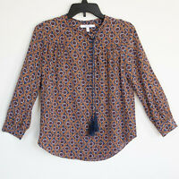 Derek Lam 10 Crosby Silk Blouse Long Sleeve Geometric Print Tassel Sz 2