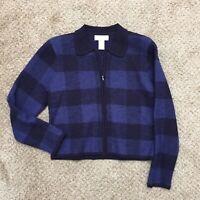 Jones New York Petite PS Blue/Black Plaid Soft Merino Wool Full Zip Jacket