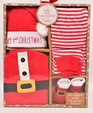 Baby 4pcs Christmas Festive Outfit, Red/White, 0-6 months, Gift Boxed
