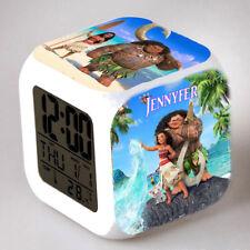 Reveil cube led lumière nuit alarm clock vaiana personnalisé prénom  réf 12