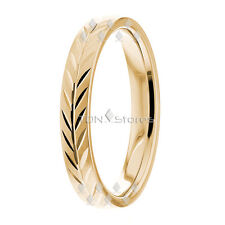 Comfort Hand Carved Wedding Bands Ring Womens 14K Yellow Gold Wedding Bands Ring
