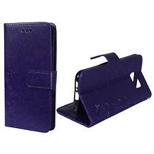 Housse de protection fleurs pour téléphone portable samsung Galaxy s6 violet wallet cover case étui