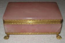 "Vintage Pink Alabaster Jewelry/Trinket Box Bronze Mounts/Feet - 6 3/4"" x 4"" x 1"""