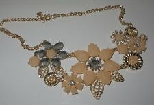"Diamante Flower Necklace 18"" Gold Colour, Pearls, Chunky Bib Necklace REDUCED"