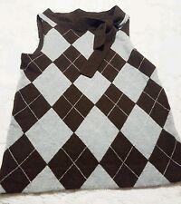 J Crew Brown Gray Argyle Sleeveless Wool Sweater Vest Size Small