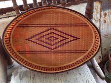 "Vintage Tribal Style Woven Oval Basket High Gloss 12"" Raised Edge"