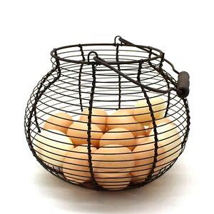 Antique Wire Egg Basket with Wood Handle Primitives Vintage Gathering Basket