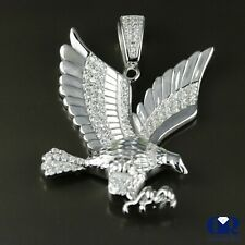 Men's 0.66 Ct Diamond Eagle Pendant In 14K White Gold