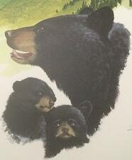 Ray Harm Signed Limited Edition Silk Screen Print Black Bear Large Rare Cubs