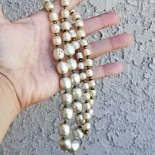 Art Deco Huge Miriam Haskell Glass Baroque Pearls Necklace