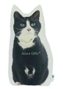 Black & White Shaped Cat Cushion Handmade By Azura Gifts, Pillow Gift, Large