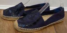 Tory Burch Bleu marine Toile & Cuir Verni Logo Espadrilles Chaussures 8.5; UK5.5