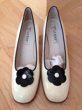 Guess Heels - White Patent Leather - Black Flower - Size 10