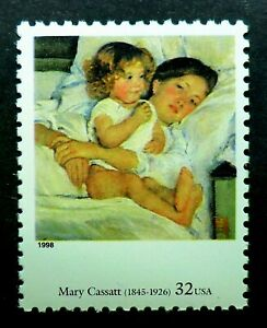 3236o MNH 1998 32c Mary Cassatt Breakfast in Bed Mother and daughter women kids
