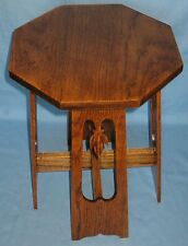 ANTIQUE OAK PLANT STAND LAMP TABLE DISPLAY STOOL CUT OUT LEAF LEGS ART NOUVEAU