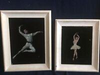 Vintage Pair Paintings Ballet On Velvet